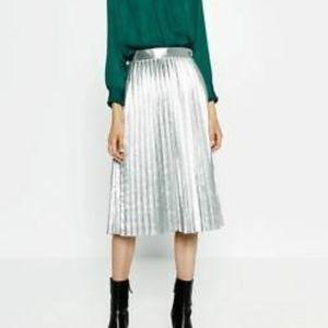 Zara metallic accordion pleated midi skirt S new